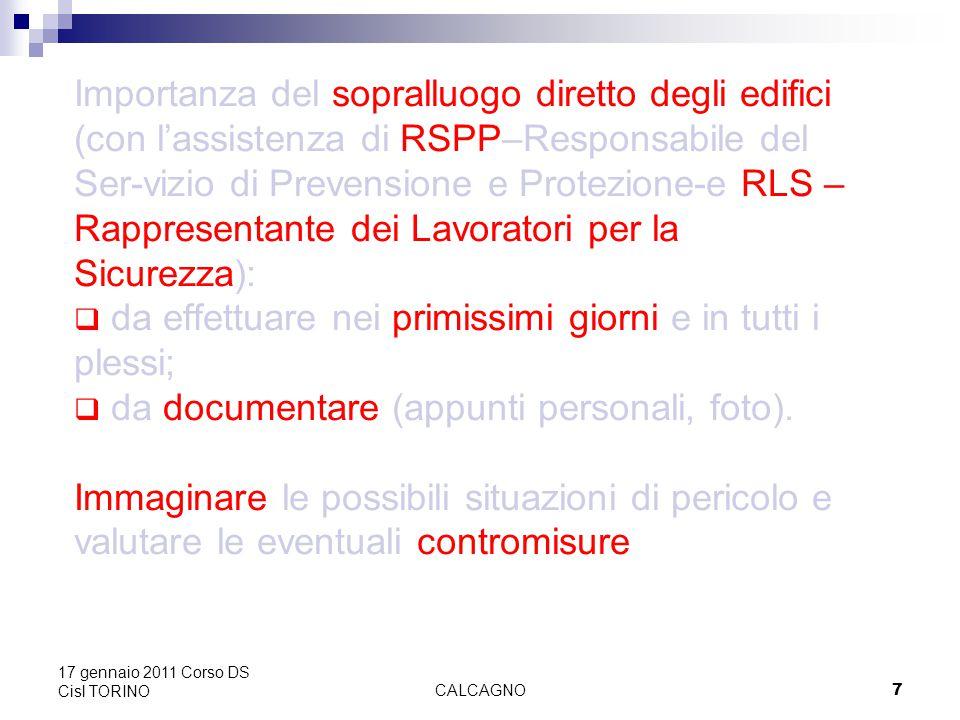CALCAGNO58 17 gennaio 2011 Corso DS Cisl TORINO