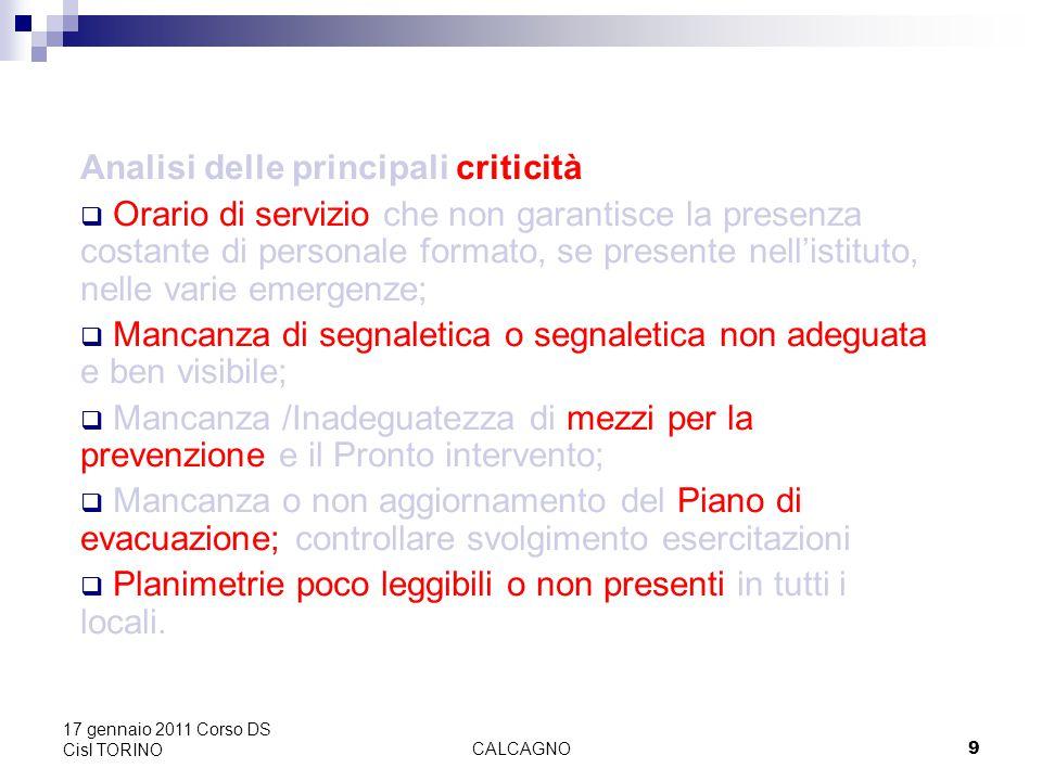CALCAGNO20 17 gennaio 2011 Corso DS Cisl TORINO Circa l'individuazione in ambito scolastico, occorre fare riferimento al Decreto Ministeriale 21 giugno 1996, n.