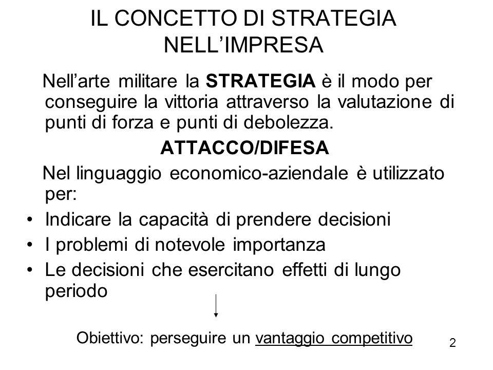 STRATEGIA è l'insieme dei fini fondamentali perseguiti dall'impresa e delle scelte relative alle risorse da impiegare e alle azioni da intraprendere a livello produttivo, commerciale, amministrativo, finanziario e organizzativo per raggiungerli.