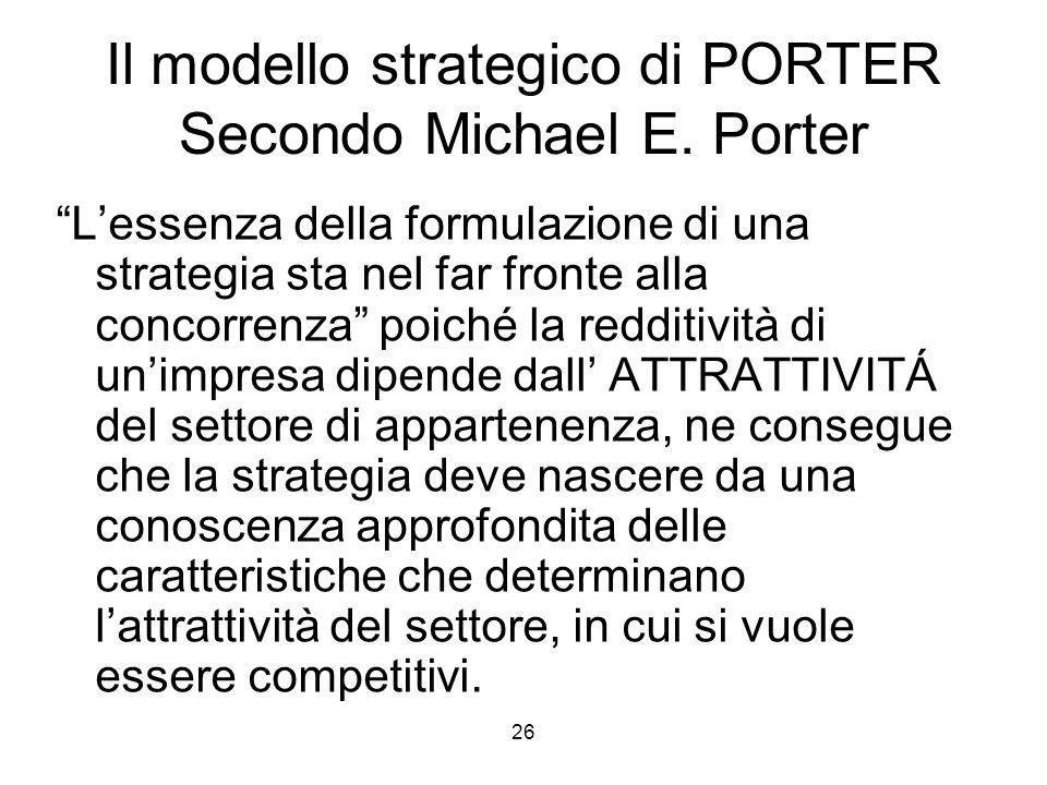 """26 Il modello strategico di PORTER Secondo Michael E. Porter """"L'essenza della formulazione di una strategia sta nel far fronte alla concorrenza"""" poich"""