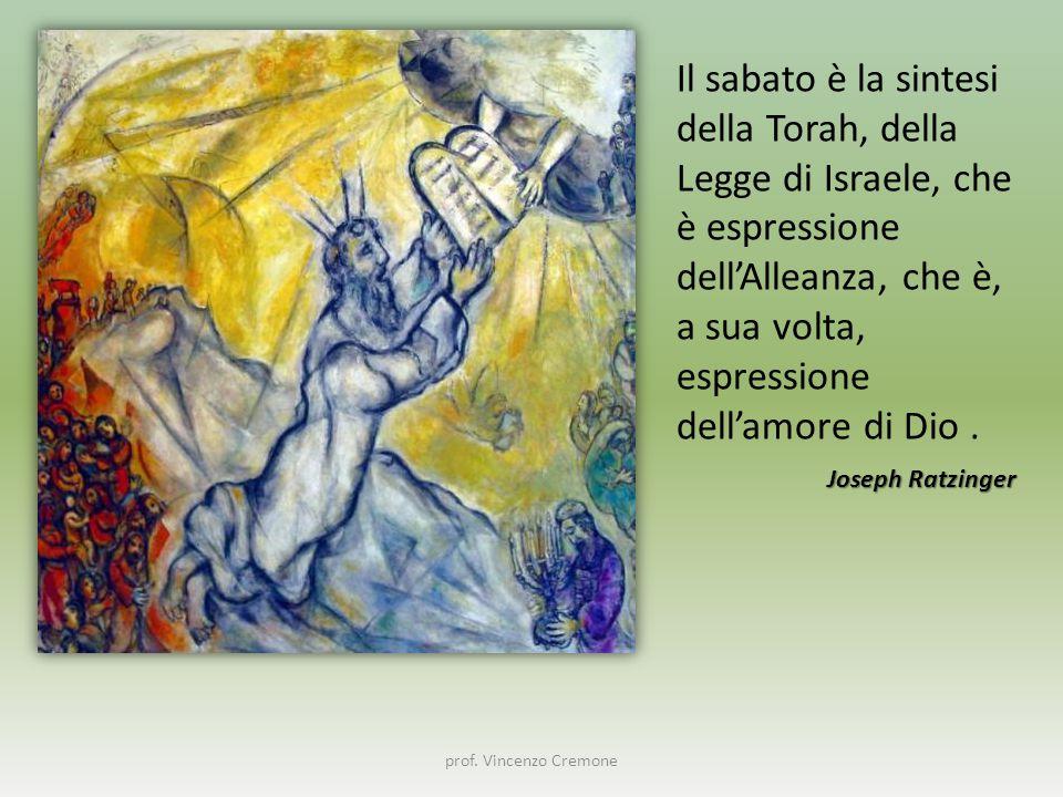prof. Vincenzo Cremone Il sabato è la sintesi della Torah, della Legge di Israele, che è espressione dell'Alleanza, che è, a sua volta, espressione de