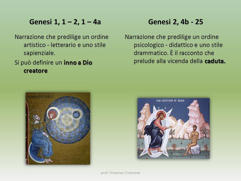 Genesi 1, 1 – 2, 1 – 4a Narrazione che predilige un ordine artistico - letterario e uno stile sapienziale. inno a Dio creatore Si può definire un inno