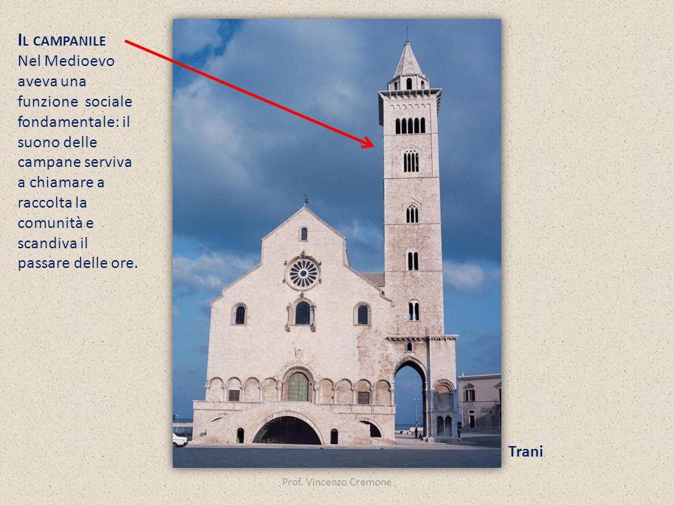 Prof. Vincenzo Cremone Trani I L CAMPANILE Nel Medioevo aveva una funzione sociale fondamentale: il suono delle campane serviva a chiamare a raccolta