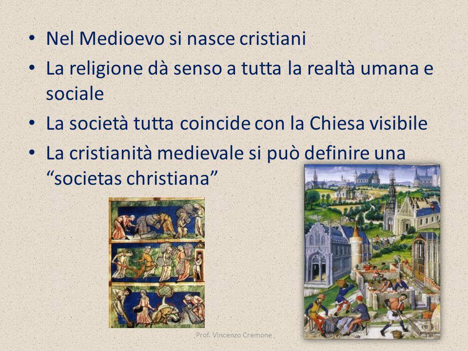 Nel Medioevo si nasce cristiani La religione dà senso a tutta la realtà umana e sociale La società tutta coincide con la Chiesa visibile La cristianit