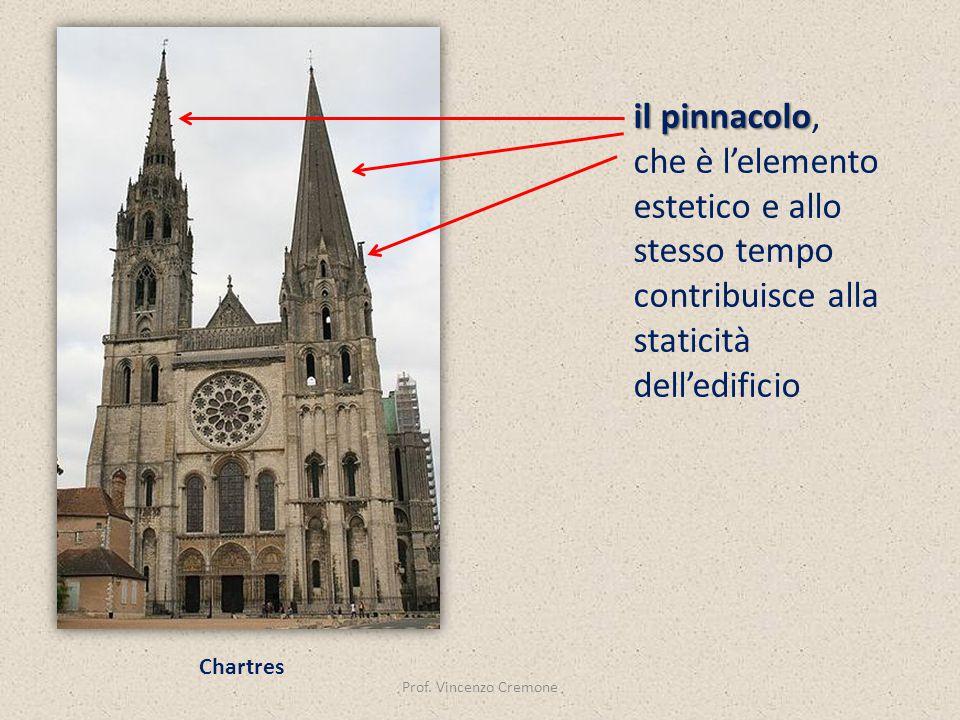 Prof. Vincenzo Cremone Chartres il pinnacolo il pinnacolo, che è l'elemento estetico e allo stesso tempo contribuisce alla staticità dell'edificio