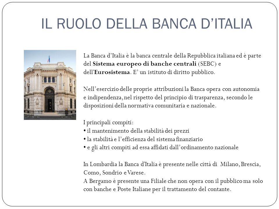 IL RUOLO DELLA BANCA D'ITALIA La Banca d'Italia è la banca centrale della Repubblica italiana ed è parte del Sistema europeo di banche centrali (SEBC) e dell Eurosistema.