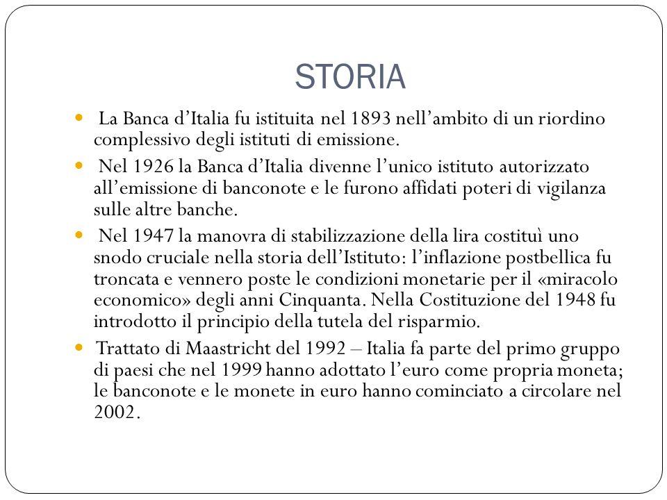 STORIA La Banca d'Italia fu istituita nel 1893 nell'ambito di un riordino complessivo degli istituti di emissione. Nel 1926 la Banca d'Italia divenne