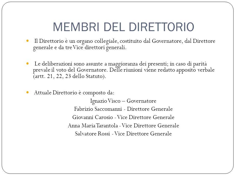 MEMBRI DEL DIRETTORIO Il Direttorio è un organo collegiale, costituito dal Governatore, dal Direttore generale e da tre Vice direttori generali. Le de