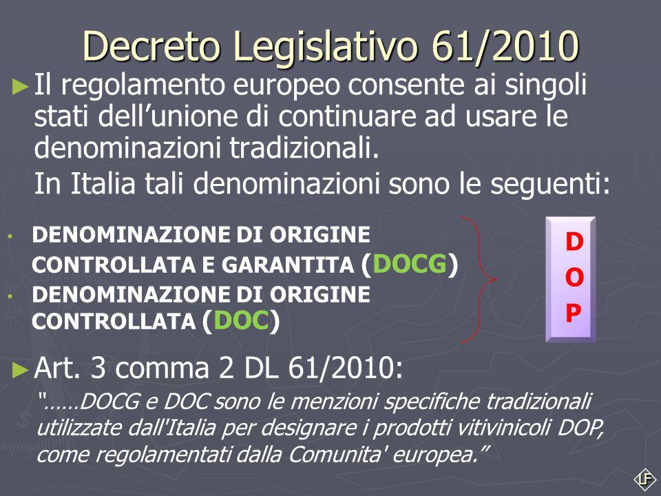 LF Decreto Legislativo 61/2010 DENOMINAZIONE DI ORIGINE CONTROLLATA E GARANTITA (DOCG) DENOMINAZIONE DI ORIGINE CONTROLLATA (DOC) ► Il regolamento europeo consente ai singoli stati dell'unione di continuare ad usare le denominazioni tradizionali.