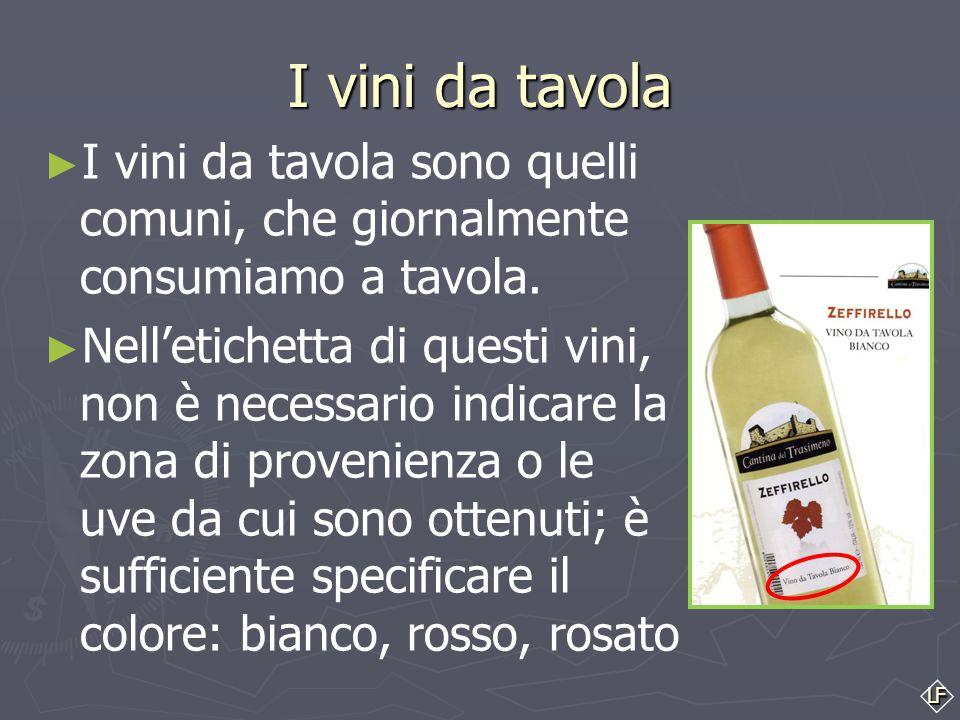 LF I vini da tavola ► ► I vini da tavola sono quelli comuni, che giornalmente consumiamo a tavola.