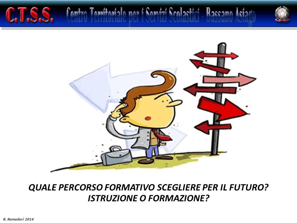 QUALE PERCORSO FORMATIVO SCEGLIERE PER IL FUTURO? ISTRUZIONE O FORMAZIONE? R. Ramadori 2014