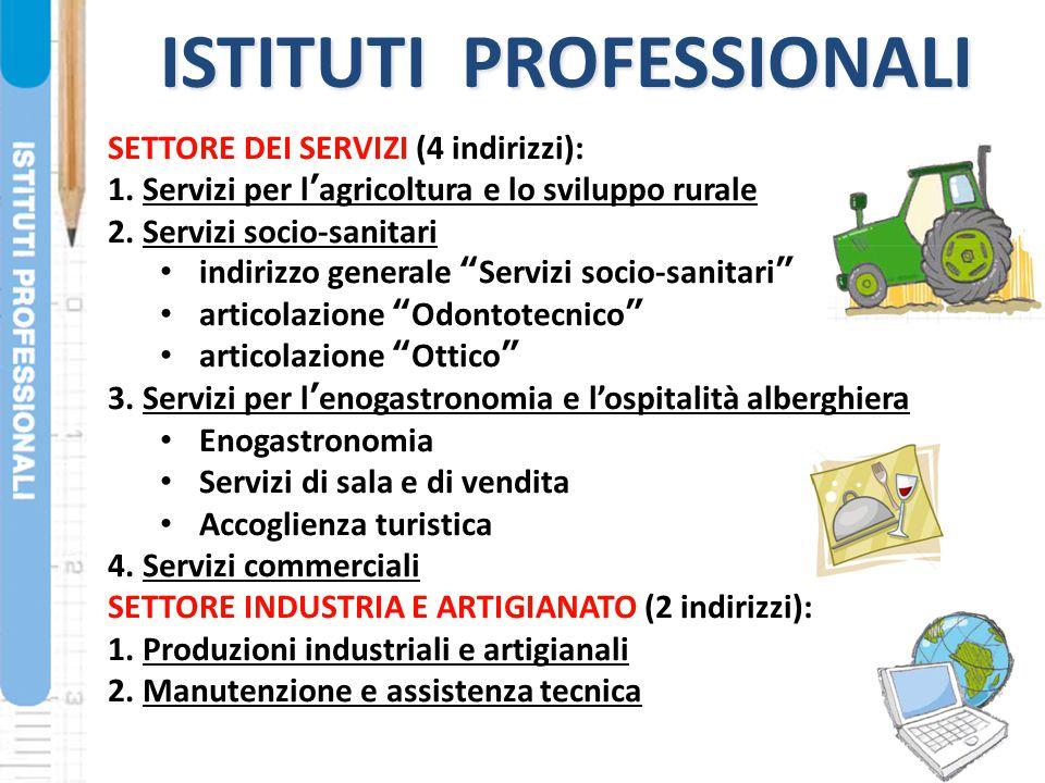 ISTITUTI PROFESSIONALI SETTORE DEI SERVIZI (4 indirizzi): 1. Servizi per l'agricoltura e lo sviluppo rurale 2. Servizi socio-sanitari indirizzo genera
