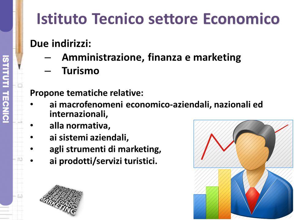 Economico Istituto Tecnico settore Economico Due indirizzi: – Amministrazione, finanza e marketing – Turismo Propone tematiche relative: ai macrofenom