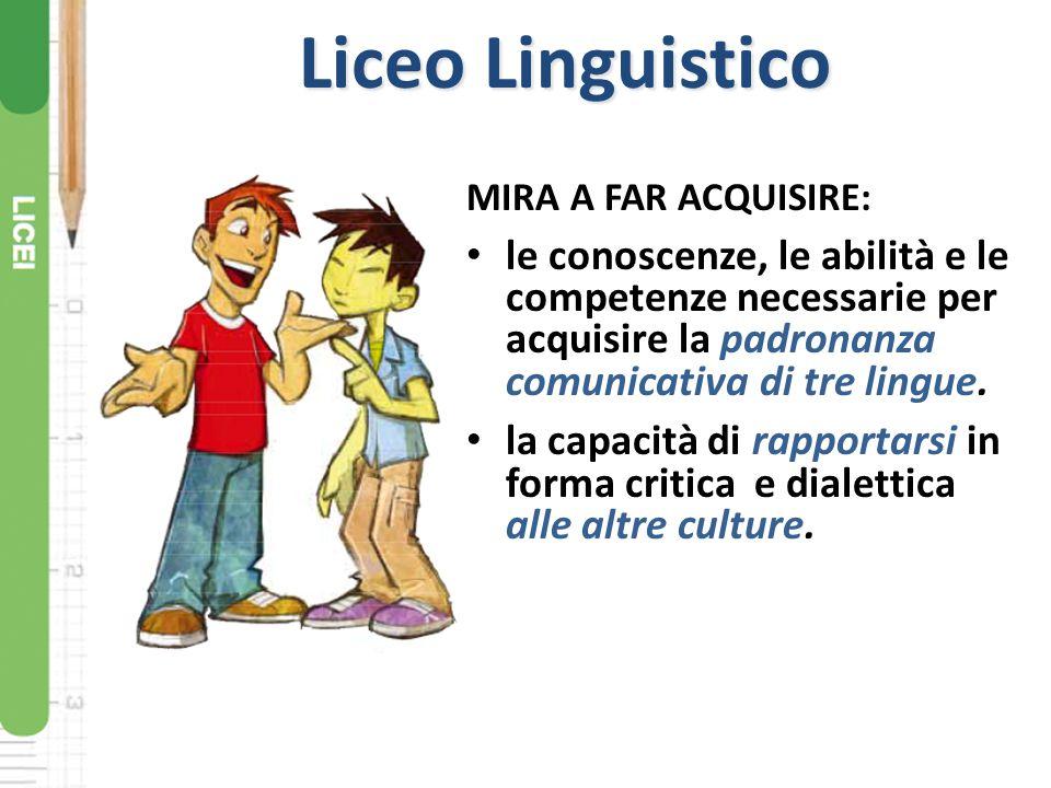 Liceo Linguistico MIRA A FAR ACQUISIRE: le conoscenze, le abilità e le competenze necessarie per acquisire la padronanza comunicativa di tre lingue. l