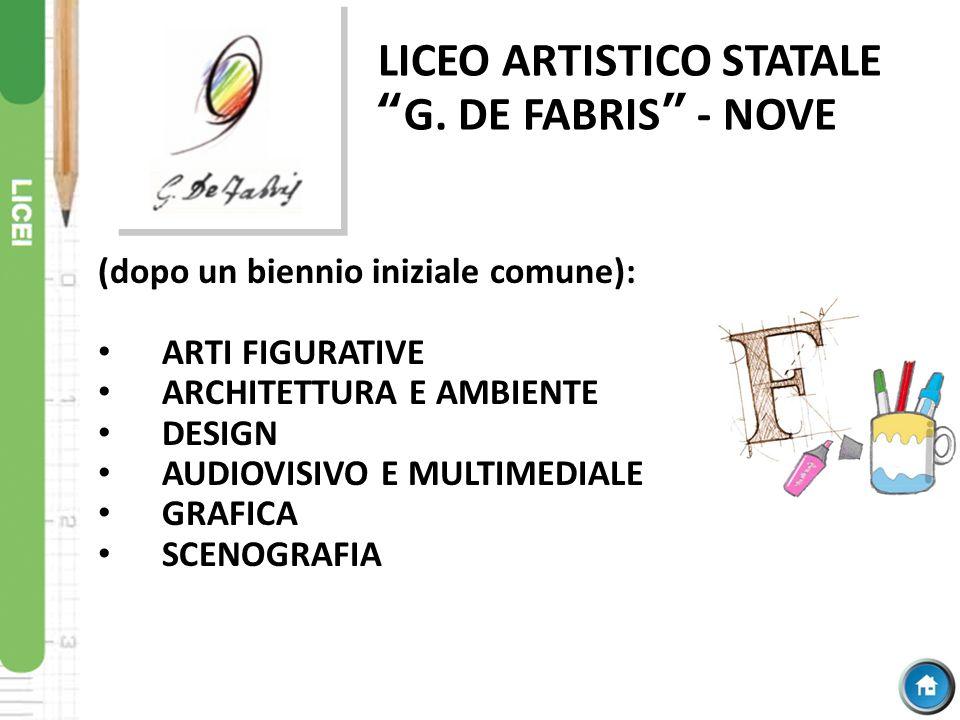 """LICEO ARTISTICO STATALE """"G. DE FABRIS"""" - NOVE (dopo un biennio iniziale comune): ARTI FIGURATIVE ARCHITETTURA E AMBIENTE DESIGN AUDIOVISIVO E MULTIMED"""
