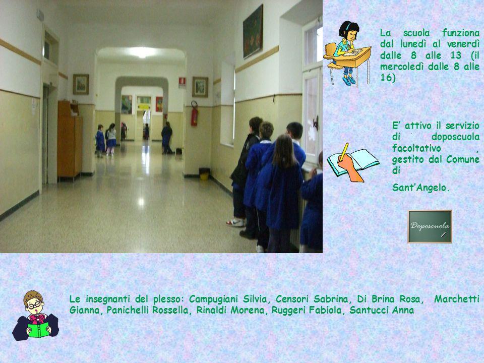 La scuola funziona dal lunedì al venerdì dalle 8 alle 13 (il mercoledì dalle 8 alle 16) E' attivo il servizio di doposcuola facoltativo, gestito dal C