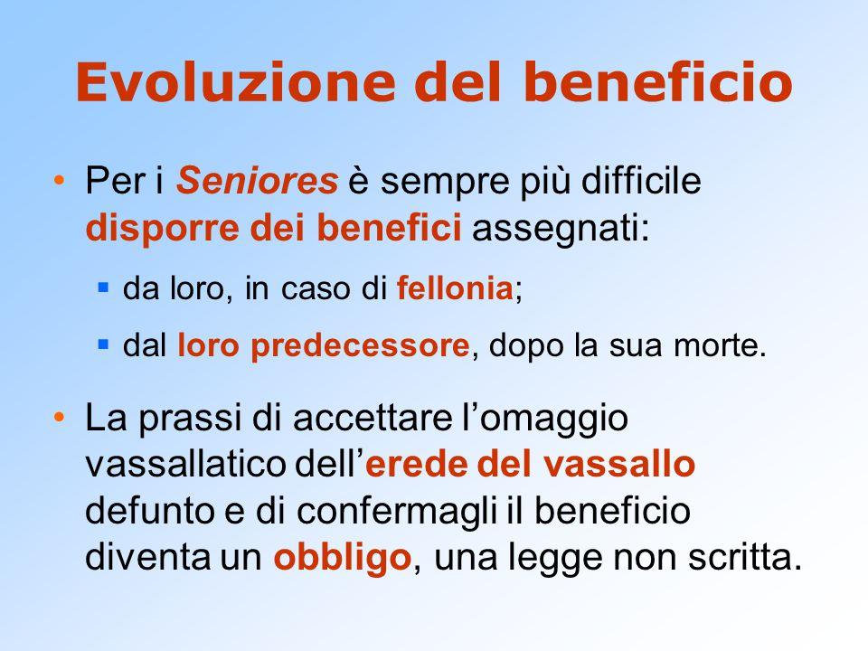 Evoluzione del beneficio Per i Seniores è sempre più difficile disporre dei benefici assegnati:  da loro, in caso di fellonia;  dal loro predecessor