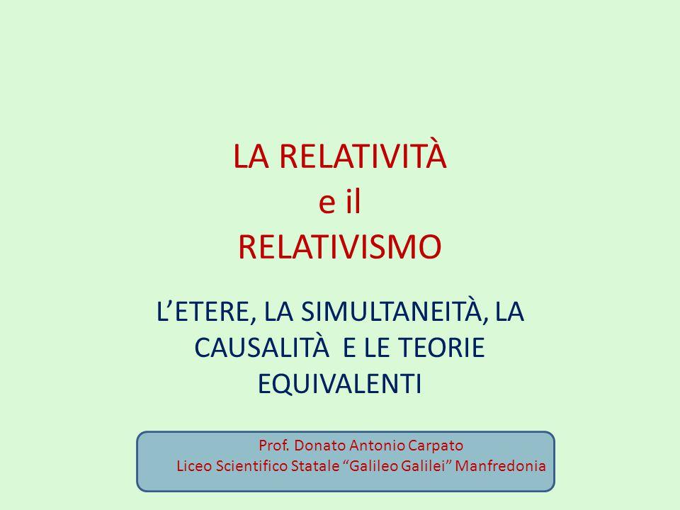 Relatività della simultaneità Il treno di Landau Nel contesto della relatività ristretta non è possibile inviare segnali superluminali (u>c), altrimenti verrebbe a mancare l'ordine temporale causa–effetto, che deve essere lo stesso per tutti gli osservatori.