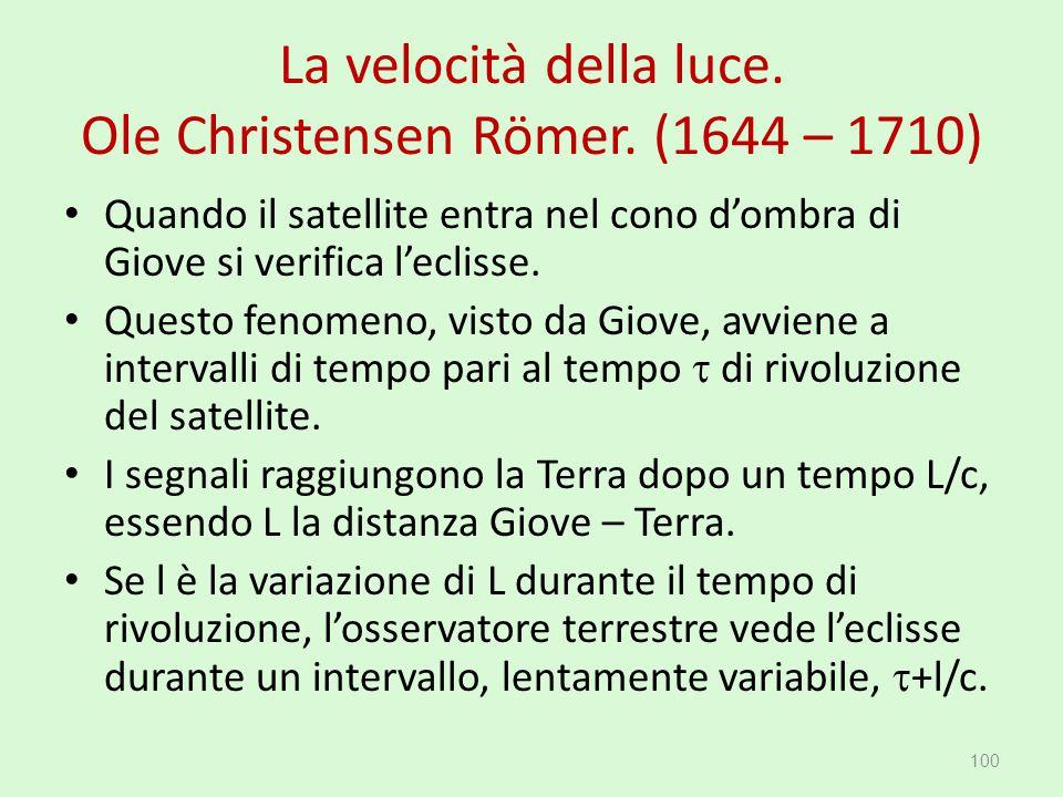 La velocità della luce. Ole Christensen Römer. (1644 – 1710) 100 Quando il satellite entra nel cono d'ombra di Giove si verifica l'eclisse. Questo fen