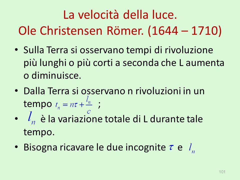 La velocità della luce. Ole Christensen Römer. (1644 – 1710) 101 Sulla Terra si osservano tempi di rivoluzione più lunghi o più corti a seconda che L