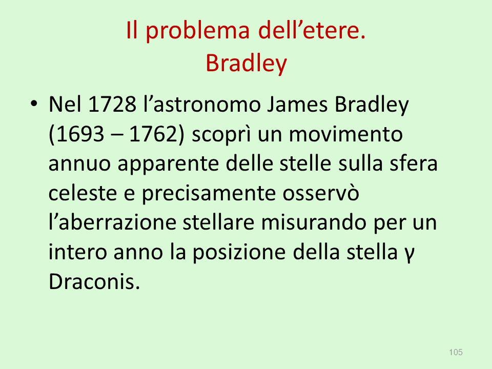 Il problema dell'etere. Bradley Nel 1728 l'astronomo James Bradley (1693 – 1762) scoprì un movimento annuo apparente delle stelle sulla sfera celeste