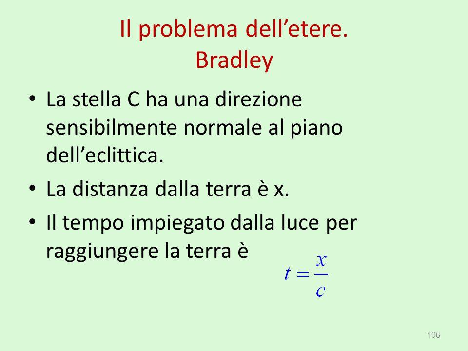 Il problema dell'etere. Bradley La stella C ha una direzione sensibilmente normale al piano dell'eclittica. La distanza dalla terra è x. Il tempo impi