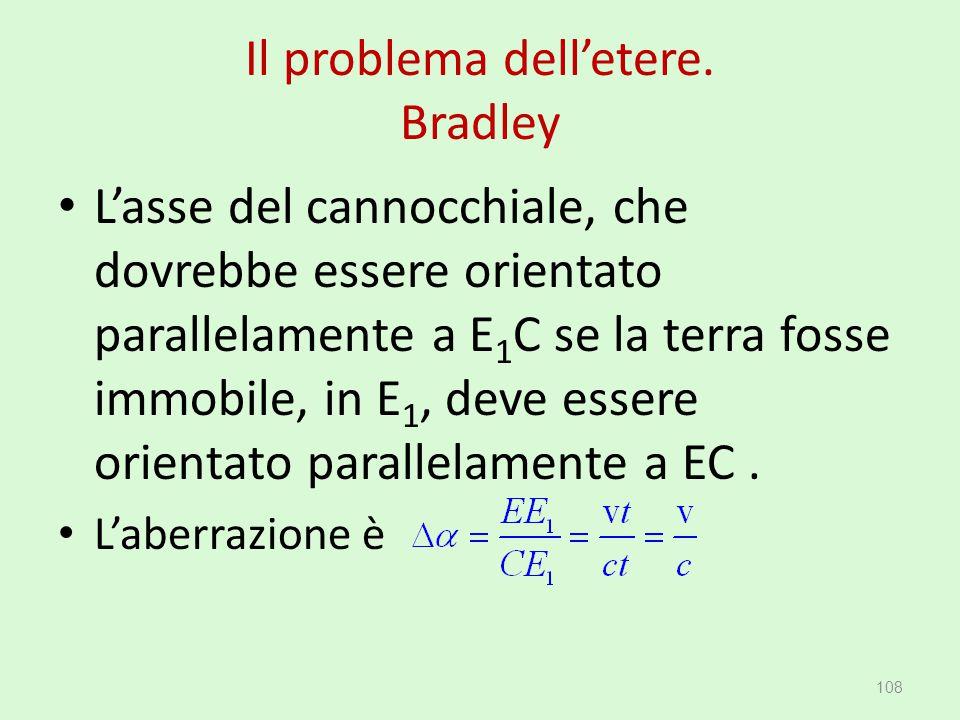 Il problema dell'etere. Bradley L'asse del cannocchiale, che dovrebbe essere orientato parallelamente a E 1 C se la terra fosse immobile, in E 1, deve