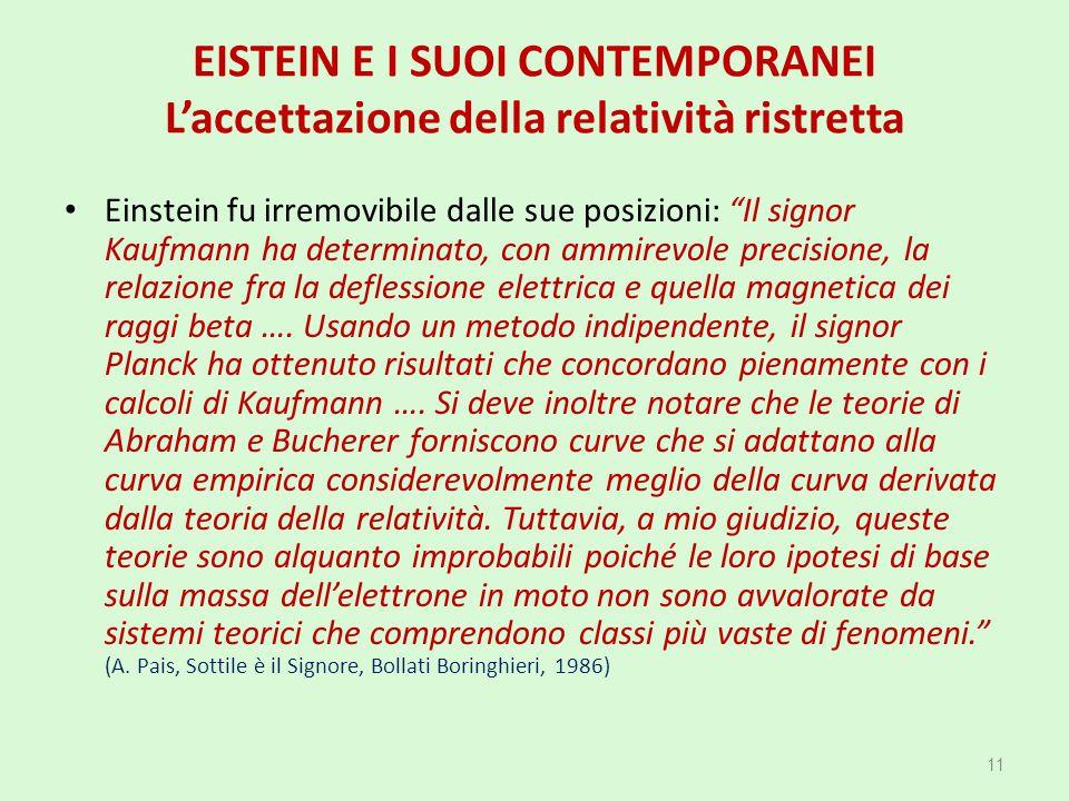"""EISTEIN E I SUOI CONTEMPORANEI L'accettazione della relatività ristretta Einstein fu irremovibile dalle sue posizioni: """"Il signor Kaufmann ha determin"""