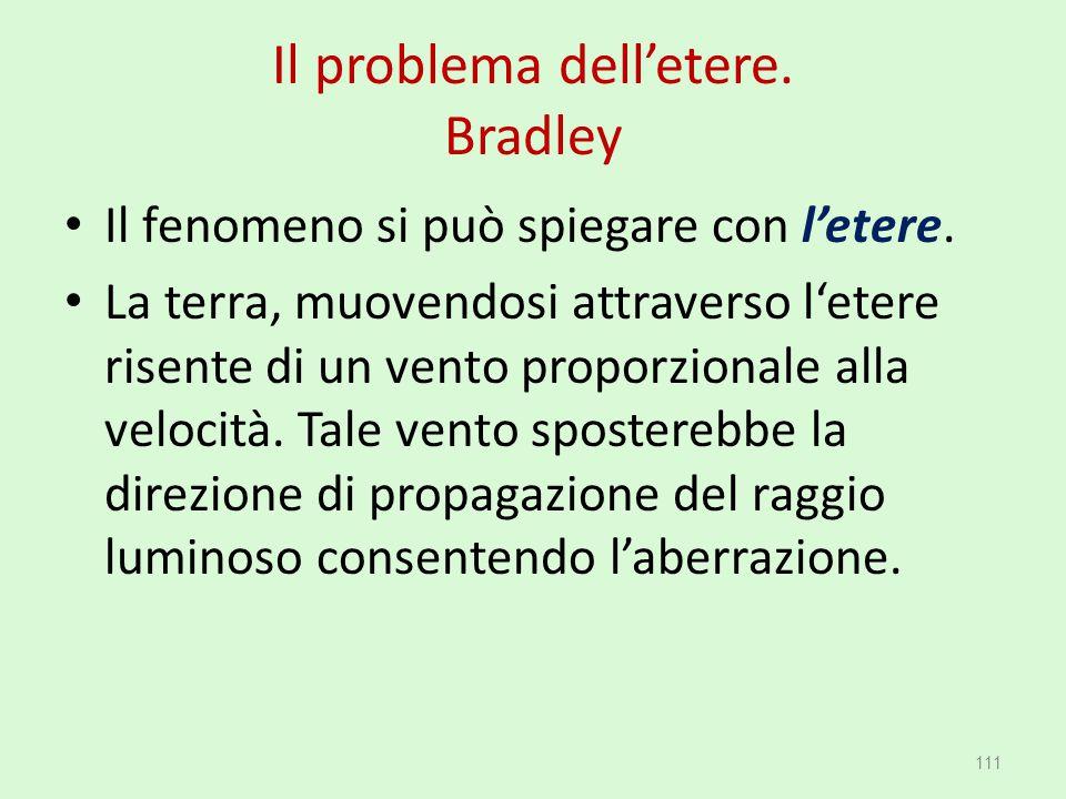 Il problema dell'etere. Bradley Il fenomeno si può spiegare con l'etere. La terra, muovendosi attraverso l'etere risente di un vento proporzionale all