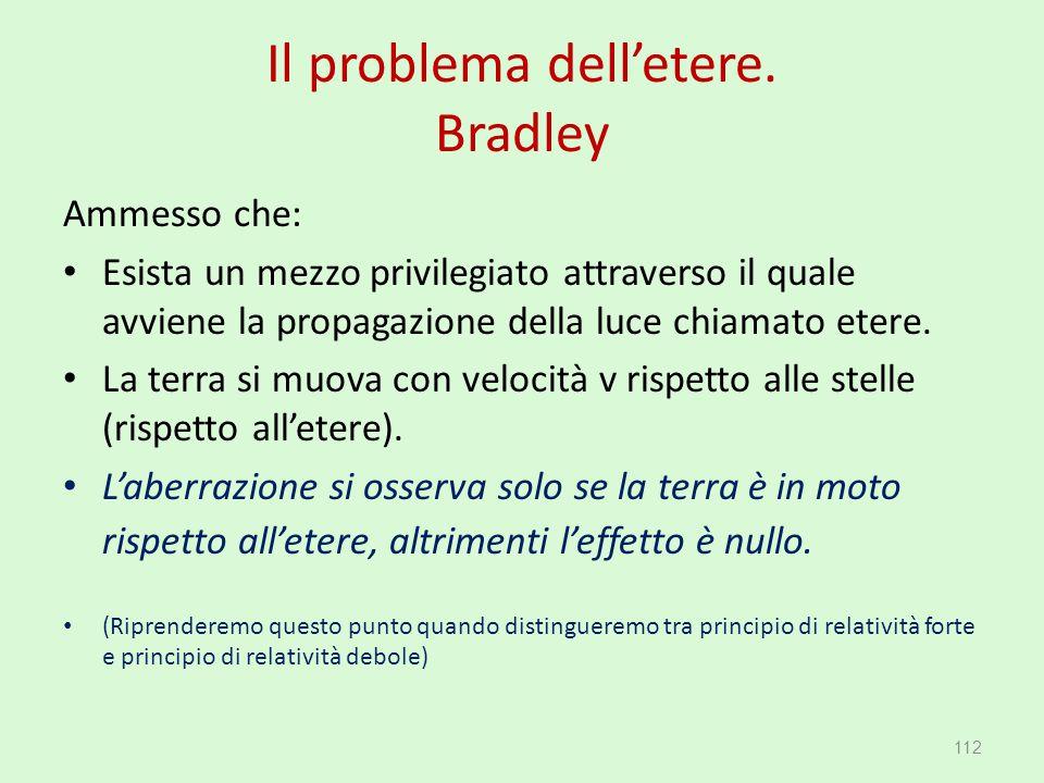 Il problema dell'etere. Bradley Ammesso che: Esista un mezzo privilegiato attraverso il quale avviene la propagazione della luce chiamato etere. La te