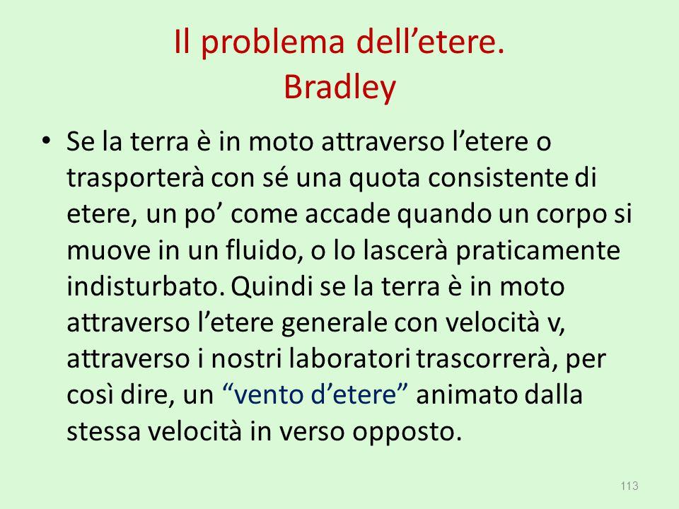 Il problema dell'etere. Bradley Se la terra è in moto attraverso l'etere o trasporterà con sé una quota consistente di etere, un po' come accade quand