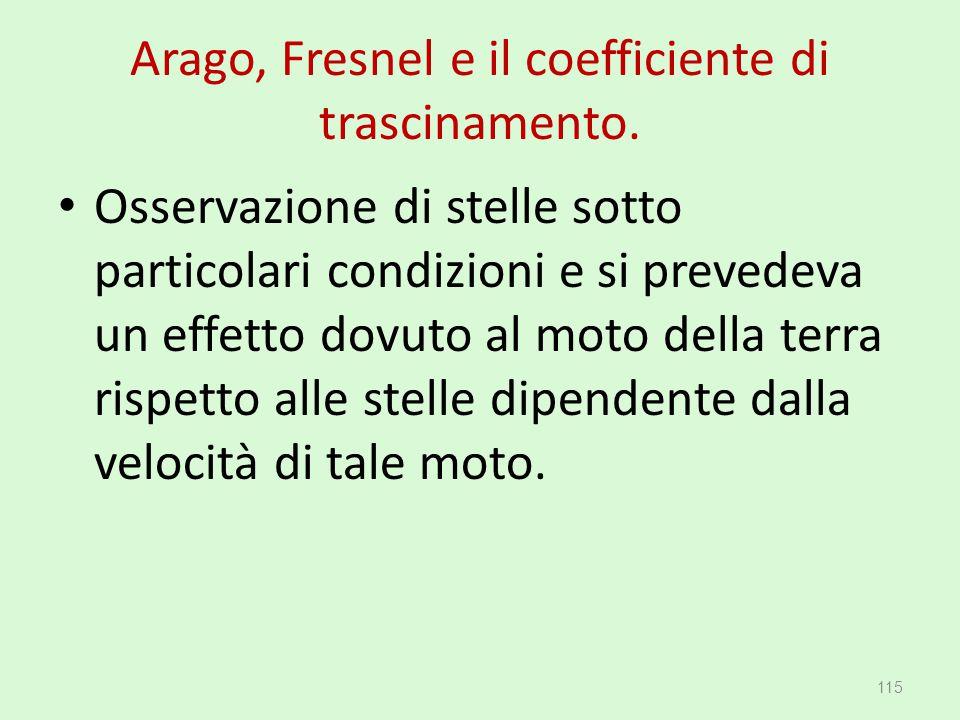 Arago, Fresnel e il coefficiente di trascinamento. Osservazione di stelle sotto particolari condizioni e si prevedeva un effetto dovuto al moto della