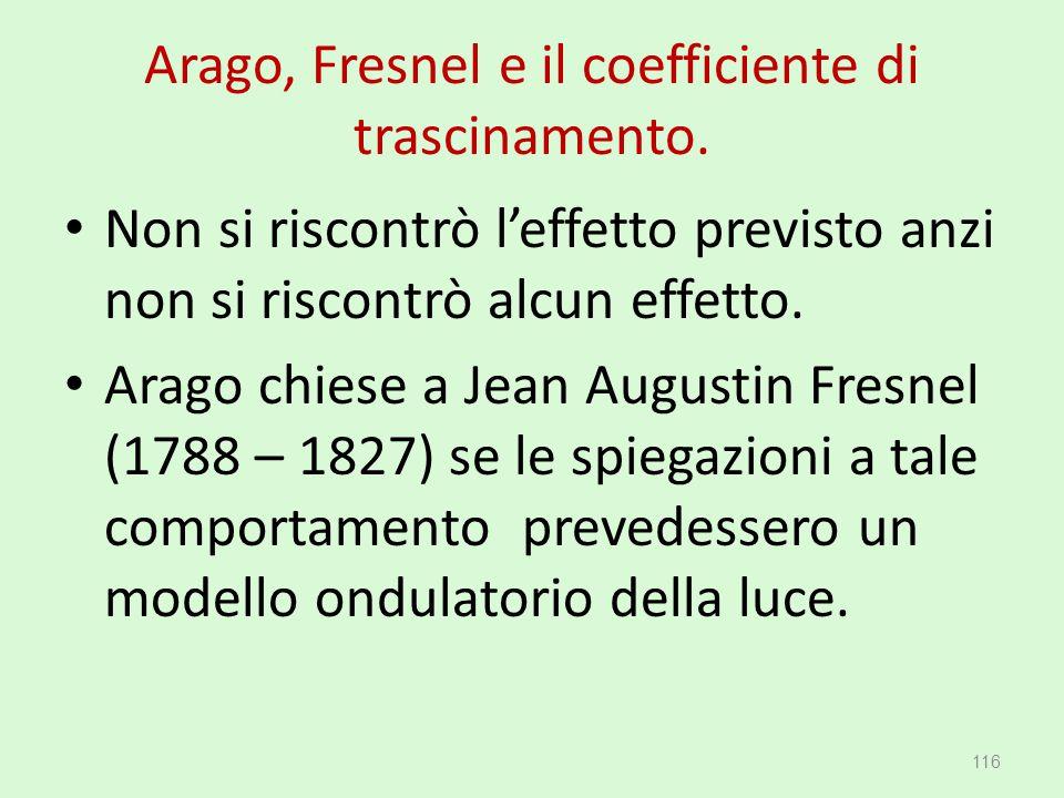 Arago, Fresnel e il coefficiente di trascinamento. Non si riscontrò l'effetto previsto anzi non si riscontrò alcun effetto. Arago chiese a Jean August