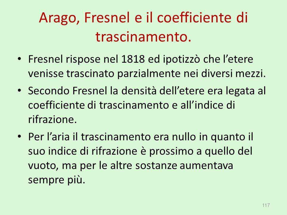 Arago, Fresnel e il coefficiente di trascinamento. Fresnel rispose nel 1818 ed ipotizzò che l'etere venisse trascinato parzialmente nei diversi mezzi.