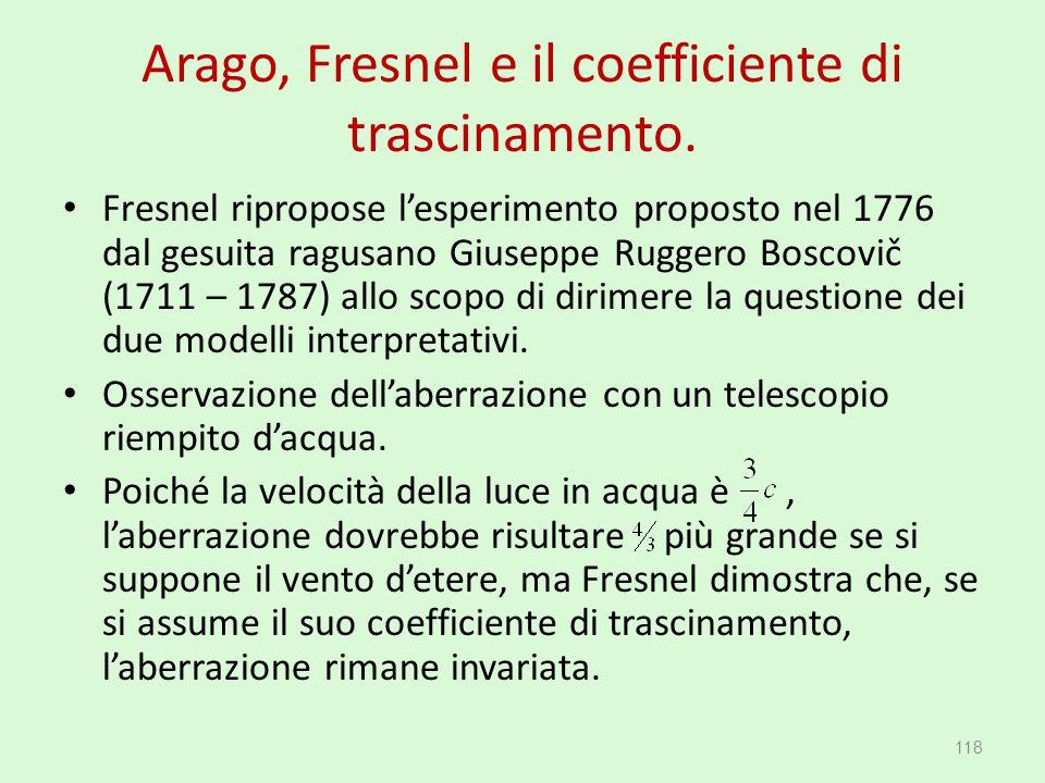 Arago, Fresnel e il coefficiente di trascinamento. Fresnel ripropose l'esperimento proposto nel 1776 dal gesuita ragusano Giuseppe Ruggero Boscovič (1