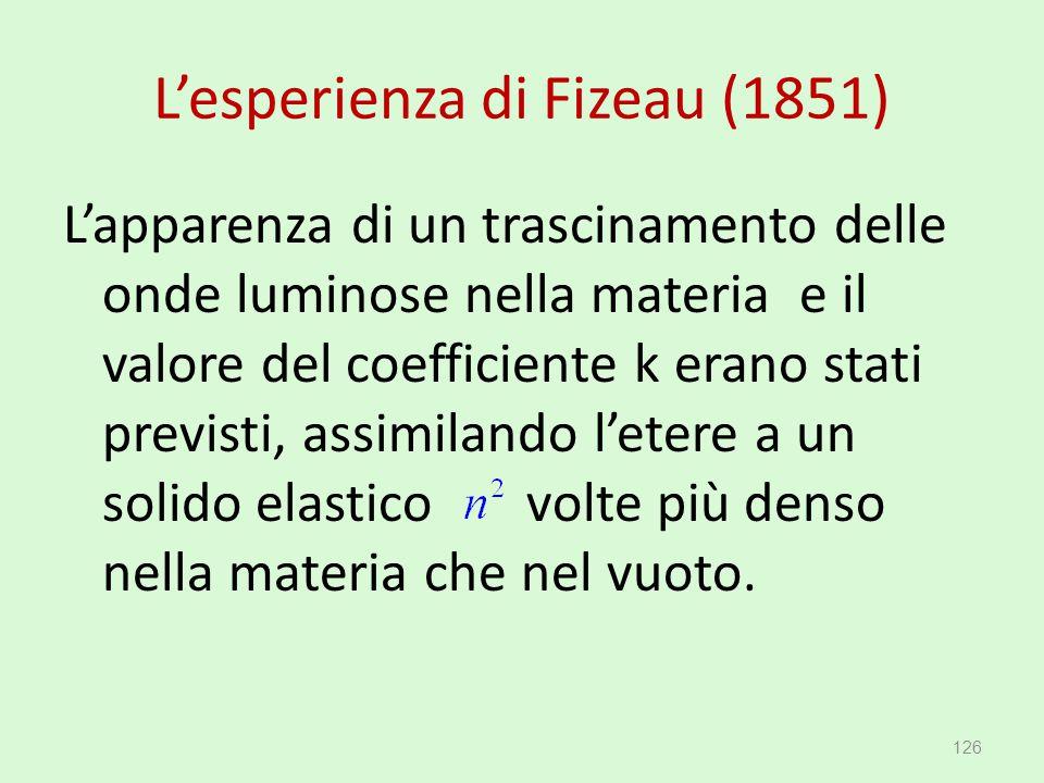 L'esperienza di Fizeau (1851) L'apparenza di un trascinamento delle onde luminose nella materia e il valore del coefficiente k erano stati previsti, a