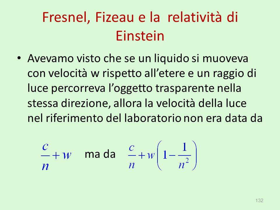 Fresnel, Fizeau e la relatività di Einstein Avevamo visto che se un liquido si muoveva con velocità w rispetto all'etere e un raggio di luce percorrev