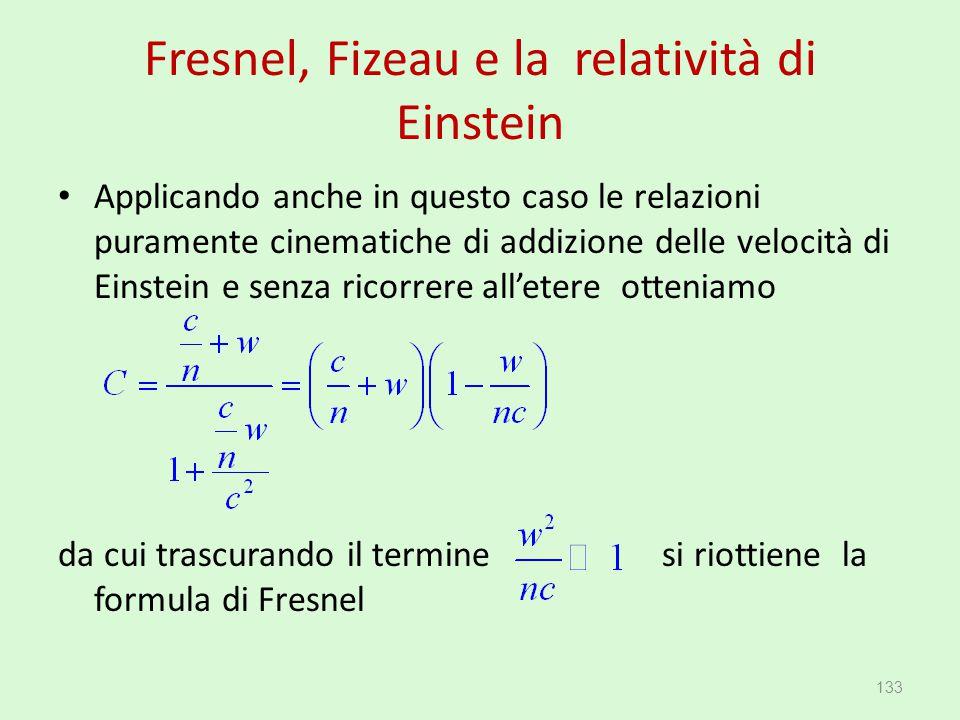 Fresnel, Fizeau e la relatività di Einstein Applicando anche in questo caso le relazioni puramente cinematiche di addizione delle velocità di Einstein
