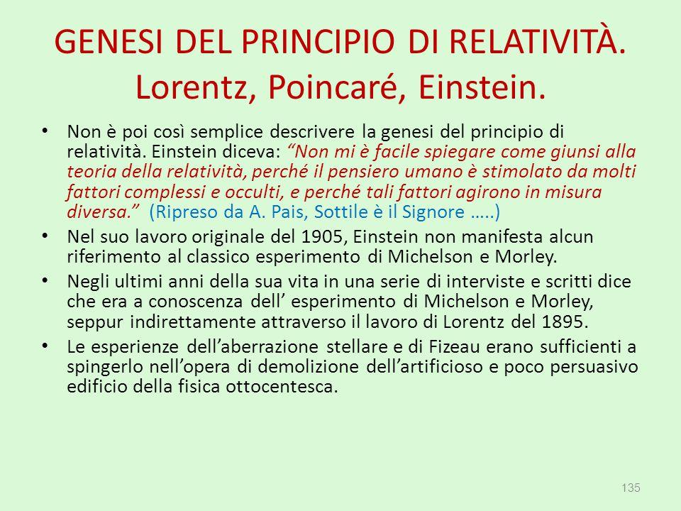GENESI DEL PRINCIPIO DI RELATIVITÀ. Lorentz, Poincaré, Einstein. Non è poi così semplice descrivere la genesi del principio di relatività. Einstein di