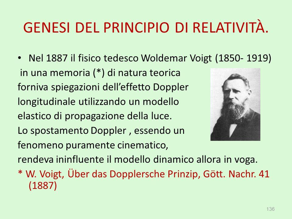 GENESI DEL PRINCIPIO DI RELATIVITÀ. Nel 1887 il fisico tedesco Woldemar Voigt (1850- 1919) in una memoria (*) di natura teorica forniva spiegazioni de