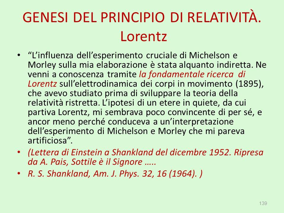 """GENESI DEL PRINCIPIO DI RELATIVITÀ. Lorentz """"L'influenza dell'esperimento cruciale di Michelson e Morley sulla mia elaborazione è stata alquanto indir"""