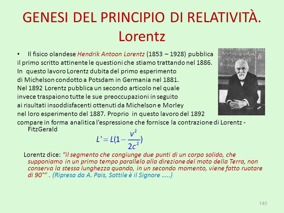 GENESI DEL PRINCIPIO DI RELATIVITÀ. Lorentz Il fisico olandese Hendrik Antoon Lorentz (1853 – 1928) pubblica il primo scritto attinente le questioni c