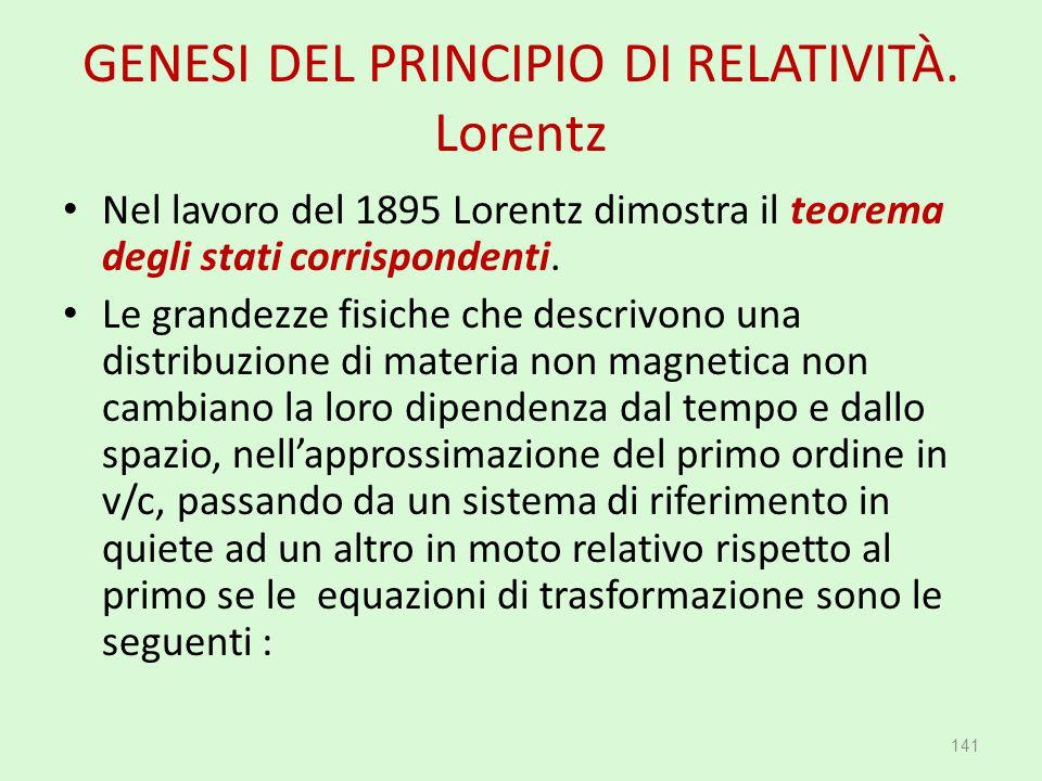GENESI DEL PRINCIPIO DI RELATIVITÀ. Lorentz Nel lavoro del 1895 Lorentz dimostra il teorema degli stati corrispondenti. Le grandezze fisiche che descr