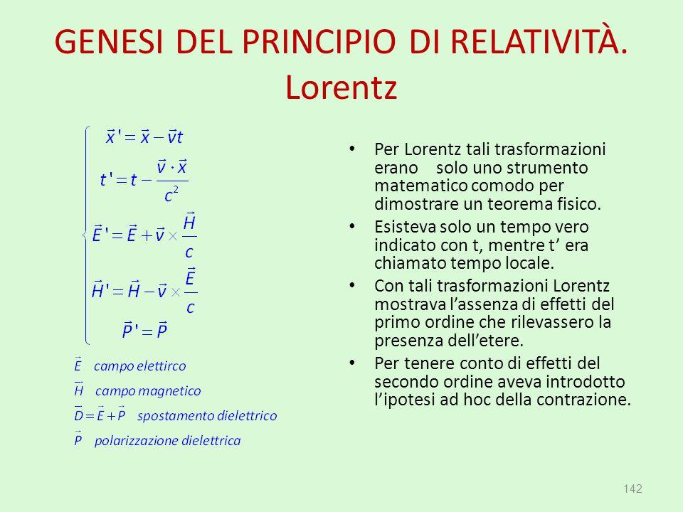 GENESI DEL PRINCIPIO DI RELATIVITÀ. Lorentz Per Lorentz tali trasformazioni erano solo uno strumento matematico comodo per dimostrare un teorema fisic