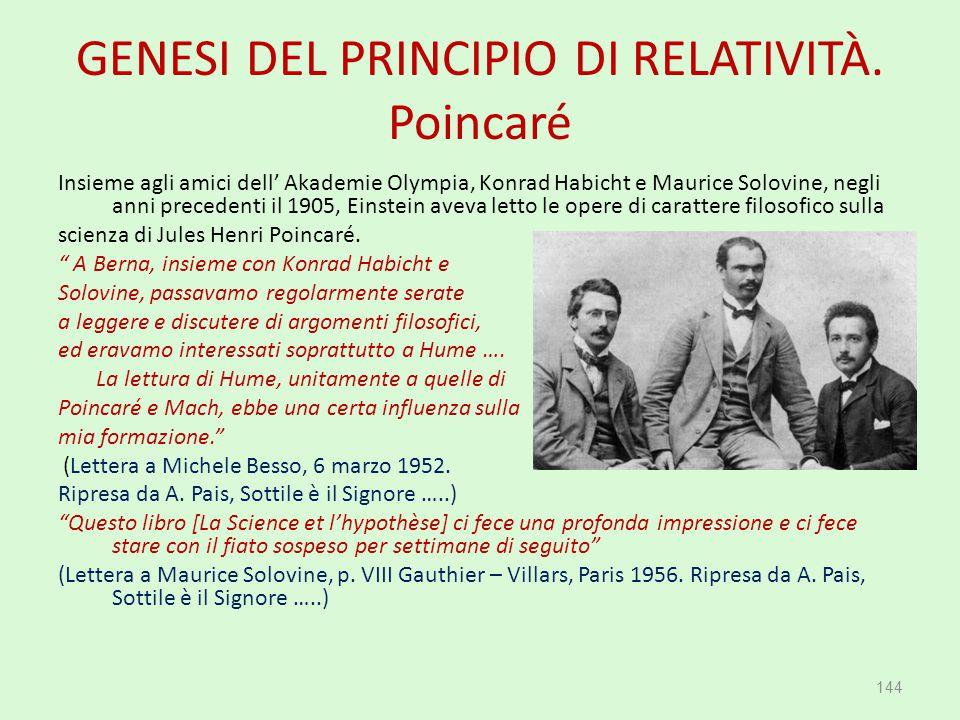 GENESI DEL PRINCIPIO DI RELATIVITÀ. Poincaré Insieme agli amici dell' Akademie Olympia, Konrad Habicht e Maurice Solovine, negli anni precedenti il 19