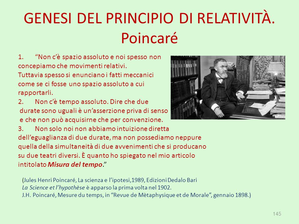 """GENESI DEL PRINCIPIO DI RELATIVITÀ. Poincaré 1.""""Non c'è spazio assoluto e noi spesso non concepiamo che movimenti relativi. Tuttavia spesso si enuncia"""