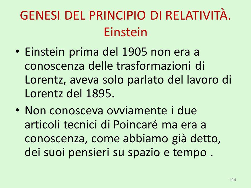 GENESI DEL PRINCIPIO DI RELATIVITÀ. Einstein Einstein prima del 1905 non era a conoscenza delle trasformazioni di Lorentz, aveva solo parlato del lavo