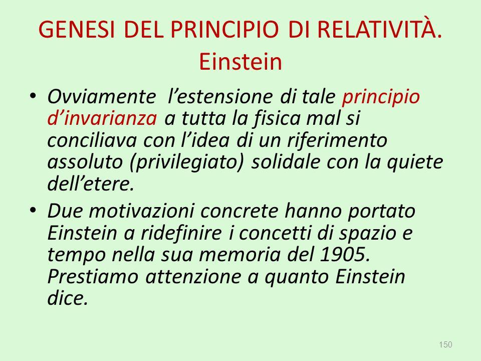 GENESI DEL PRINCIPIO DI RELATIVITÀ. Einstein Ovviamente l'estensione di tale principio d'invarianza a tutta la fisica mal si conciliava con l'idea di