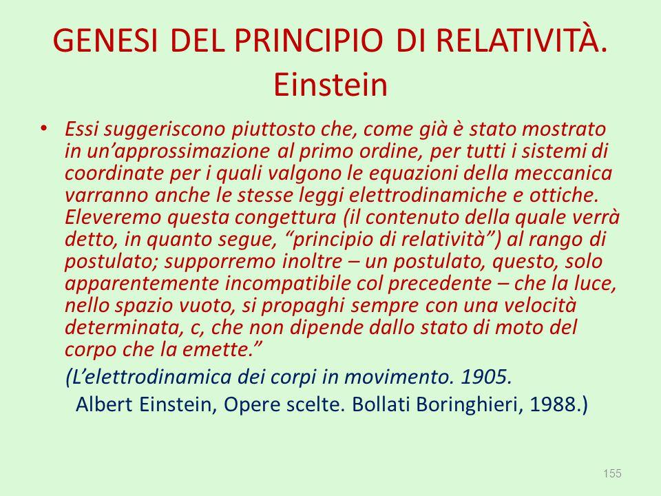 GENESI DEL PRINCIPIO DI RELATIVITÀ. Einstein Essi suggeriscono piuttosto che, come già è stato mostrato in un'approssimazione al primo ordine, per tut