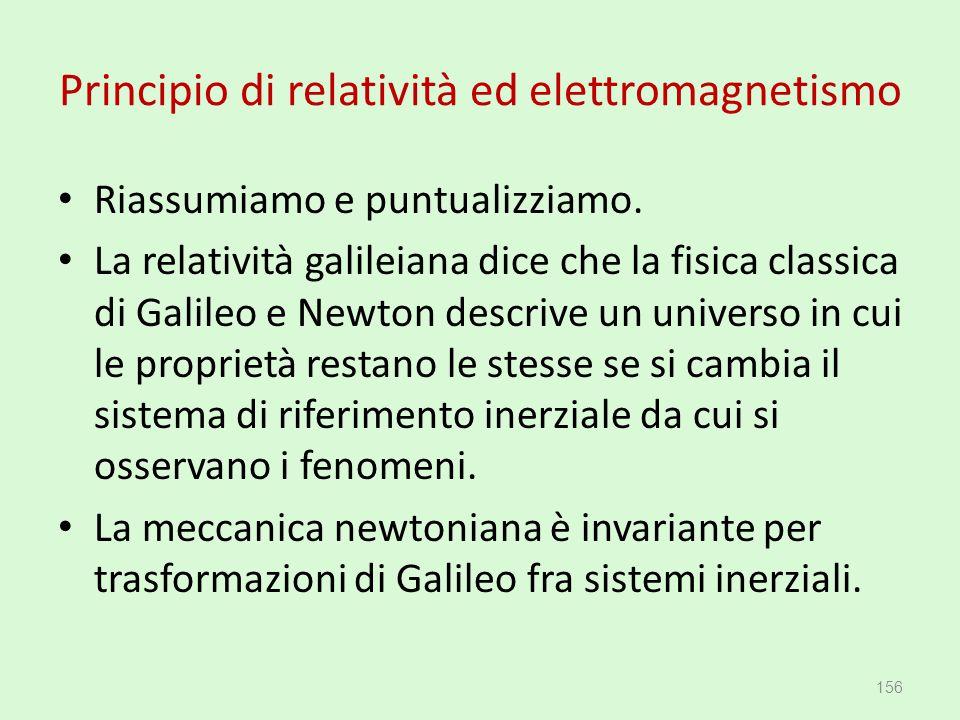 Principio di relatività ed elettromagnetismo Riassumiamo e puntualizziamo. La relatività galileiana dice che la fisica classica di Galileo e Newton de